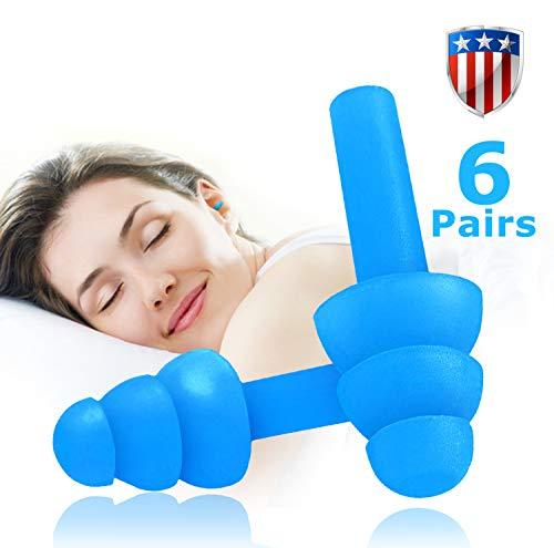 6 Paar Ohrstöpsel mit Geräuschunterdrückung wiederverwendbare Ohrstöpsel zum Schlafen und Schwimmen, weich und bequem zum Schießen von Gehörschutz, Geräuschunterdrückung mit Tragetasche, (Jelly Blue)