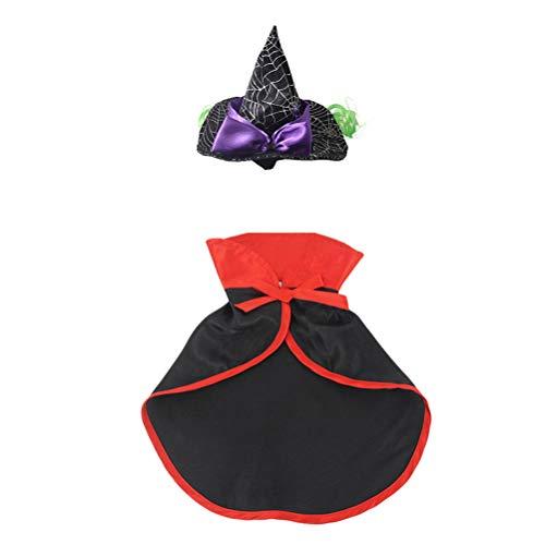 POPETPOP Haustier Katze Halloween Kostüme Zauberer Hut und Mantel Lustige Haustier Kleidung für Katzen für Halloween Party Besondere Anlässe Cosplay Anzug Halloween Zubehör