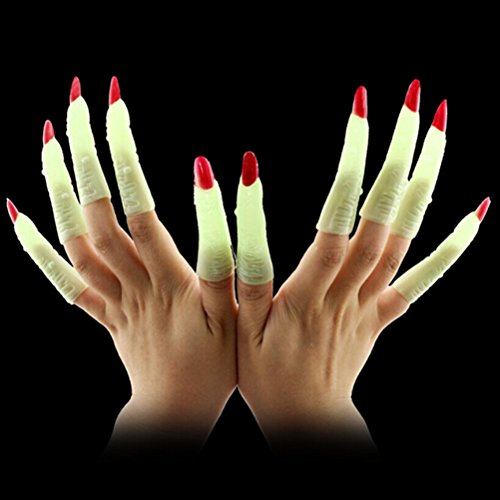 Spooky Kostüm Kids - BESTOYARD 10 stücke Hexen Fingern Gefälschte Nägel Leuchtende Glow-in-The-Dark Spooky Scary Hexen Finger Party Requisiten Kostüm Finger Halloween Kostüme Party Favors