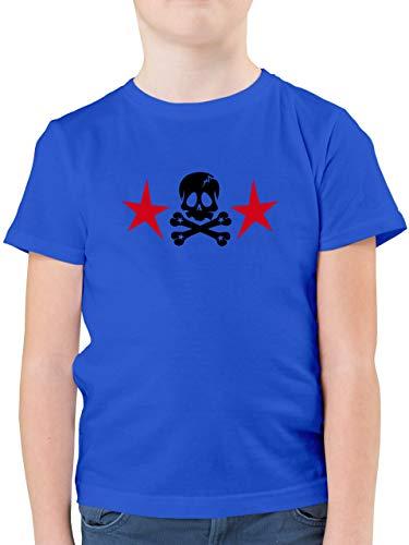 Bunt gemischt Kinder - Totenkopf mit Sternen - 152 (12/13 Jahre) - Royalblau - F130K - Kinder Tshirts und T-Shirt für Jungen -