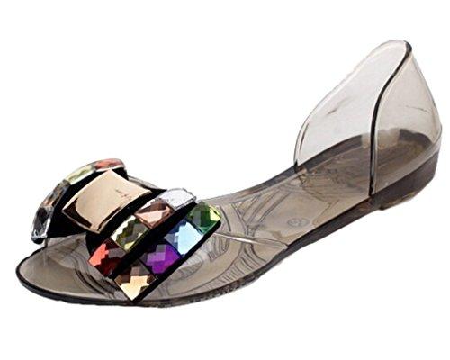 Minetom D'été Pour Femme Motif Bling Bowtie Jelly Sandales Pantoufles Plates Ouvrez Toe Shoes