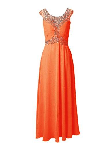 Dressystar Robe de soirée/de partie Perlée longue en Mousseline Orange