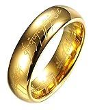 """Anello originale de """"Il Signore degli anelli"""", in tungsteno, con incisioni laser all'interno/esterno, in sfarzosa custodia di metallo, Placcato oro (P)"""