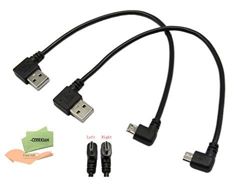 cerrxian 22,9cm Micro-USB-Kabel Combo Links & Rechts Winkel Micro-USB 5-Pin Stecker auf USB 2.0Typ A links Winkel männlich Daten Sync und aufladen Kabel für Samsung, HTC, Motorola, Nokia, Android, und mehr (1Paar)