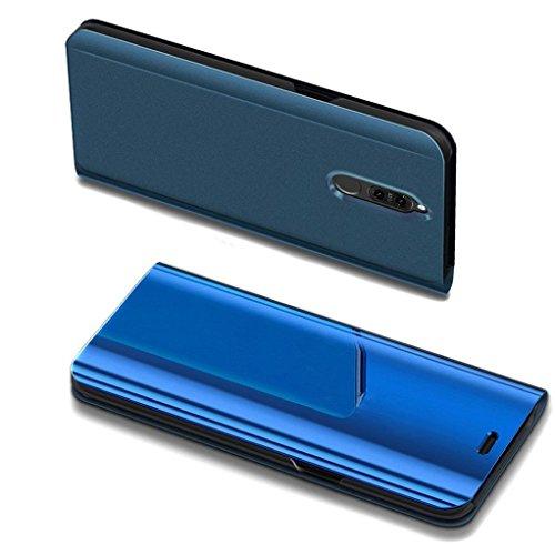COTDINFOR Huawei Mate 10 Lite Spiegel Ledertasche Handyhülle Cool Männer Mädchen Slim Clear Crystal Spiegel Flip Ständer Etui Hüllen Schutzhüllen für Huawei Mate 10 Lite Mirror PU Blue MX.