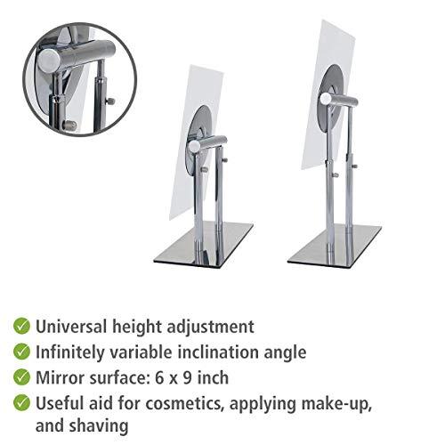 WENKO 3656420100 Kosmetik-Standspiegel Pinerolo – klappbar, Stahl, 23 x 27-35 x 10 cm, Chrom - 2