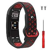 Garmin Vivosmart HR Activity Tracker correa de reloj de repuesto, accesorios correa de reloj de silicona suave ajustable Reemplazo diseñado para Garmin Vivosmart HR Smart Sport reloj (negro + rojo 1)