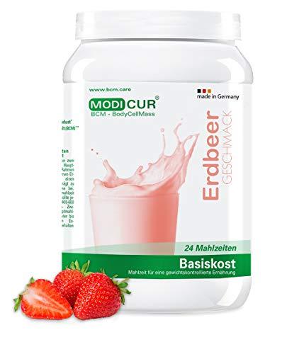 BCM Basiskost Erdbeer - Diät Shake - Das Original - 24 Portionen (500 g) - Modicur (Eiweiss - Protein - Low Carb Formula Diät zum Abnehmen - Mahlzeitenersatz)