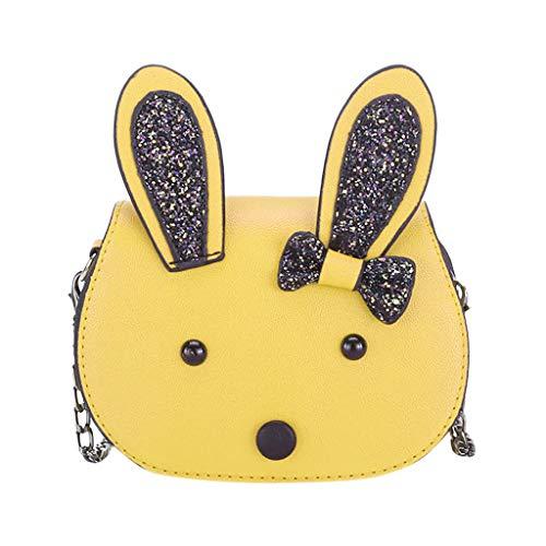 Dorical Umhängetasche für Kinder Süß Rabbit Kindertasche, Klein Messenger Handtasche Schultertasche, für Kinder, Mädchen, aus PU-Leder, für 3-12 Jahre geeignet Ausverkauf(Gelb)