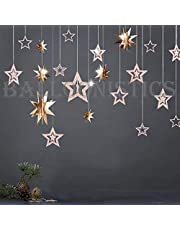 Balloonistics Glitter Rose Gold Metallic 3D Hanging Paper Multi-Shaped Twinkle Star Garlands Kit for Decorations - Pack of 11 Stars