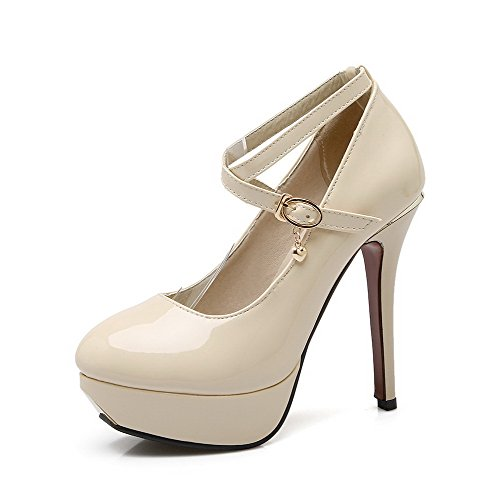 VogueZone009 Femme à Talon Haut Verni Couleur Unie Boucle Rond Chaussures Légeres Beige