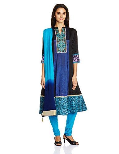 Rain and Rainbow Women's Anarkali Salwar Suit (SKD-4416-AW/05-25_Turq_XL)