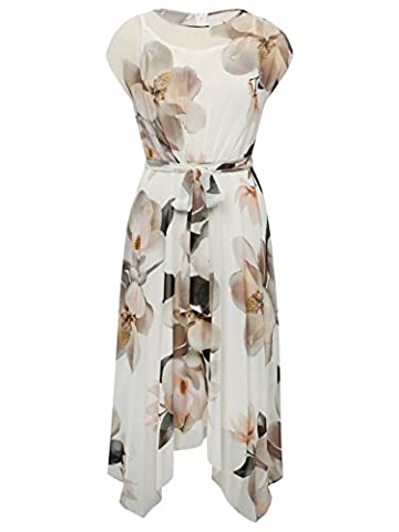 M&Co Ladies Capped Sleeve Double Layer Orchid Floral Print Tie Waist Occasion Hanky Hem Dress Ivory 16