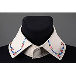 Cuello postizo hecho a mano de lino beige bisuteria fina regalo personalizado