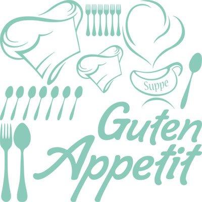 Adhesivo decorativo para pared de cocina con el texto en alemán 'Guten Appetit...