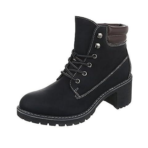Schnürstiefeletten Damen-Schuhe Klassischer Stiefel Blockabsatz Schnürer Schnürsenkel Ital-Design Stiefeletten Schwarz, Gr 39, 268-Ga-