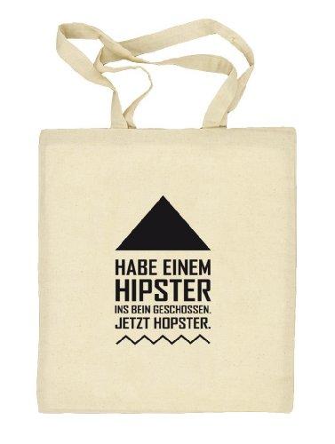 Shirtstreet24, Hipster Hopster, Natur Stoffbeutel Jute Tasche (ONE SIZE) Natur