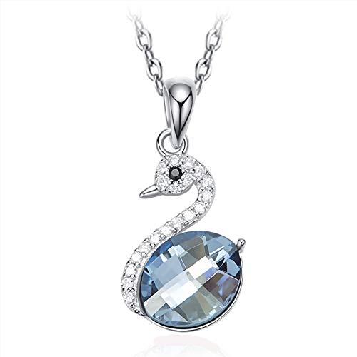 NIMUIL Damen 925 Sterling Silber Halsketten für Schwan Kettenanhänger Silberkette mit Adoption Swarovski Blau Kristallen, Frauen Mädchen mit Schönen Geschenkbox