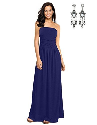 SEMIA Damen Kleid mit Blüte Drucken Bandeau Bustier Geblümt Trägerlos Sommerkleid Strandkleid Abendkleid Elegante Kleider Blau XXL