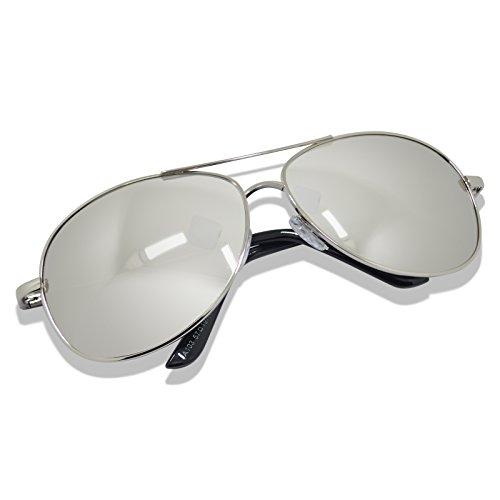 WHCREAT Herren Polarisierte Sonnenbrille UV 400 Schutz Federscharnier Metall Rahmen Spiegel Farbige Linse - Silber Rahmen Silber Linse (Metall-rahmen Breite)