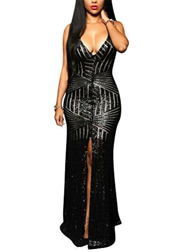 Brinny Longue Robe Maxi à bretelle Femme Col V Pailleté Sexy Split Dos nu Robe de soirée de cocktail cérémonie costume Noir / Or Noir