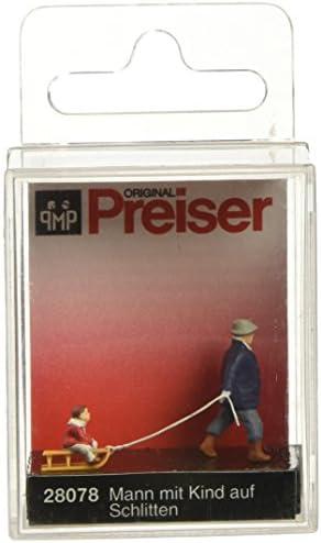 Preiser 1/87 Ème PR28078 - Modélisme Ferroviaire - Homme Tirant 1 Enfant dans 1 Luge | Nouvelle Arrivée
