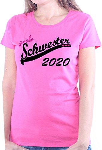Mister Merchandise Ladies Damen Frauen T-Shirt Große Schwester 2020 Sister Tee Mädchen Bedruckt Pink, XS (Schwester Große T-shirt Pink Womens)