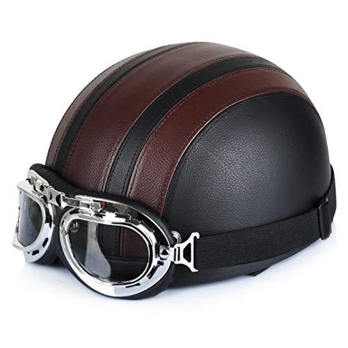 OLEEKA Motorradhelme für Open Face Retro Half mit Brille Old Style Motorrad Four Seasons Brille Kunstleder Schal Helm