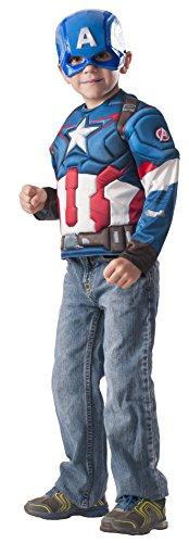 Marvel Avengers Captain America Muscle Brust Shirt Kinder-Kostum Unisex 100cm-120cm G31480 eingestellt