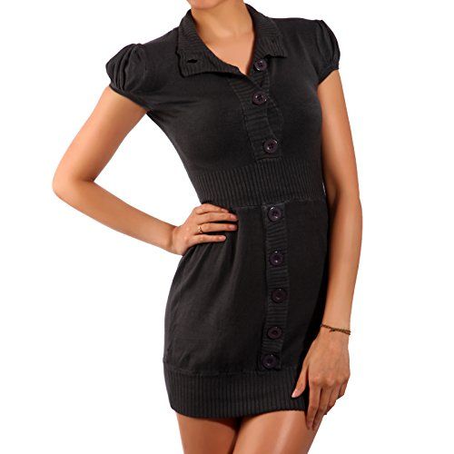 Young Fashion Minikleid Longpullover Strickkleid (M/L, Grau) (Small/Medium, Anthrazit)