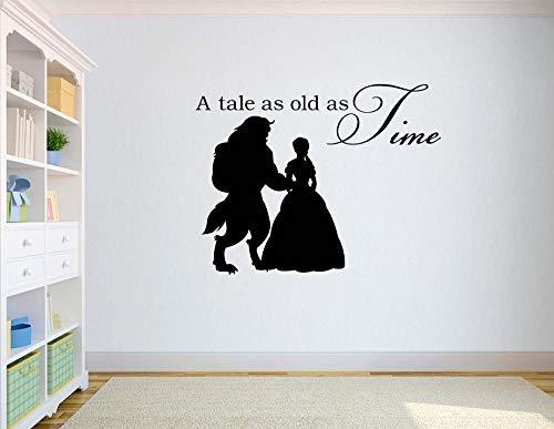 jiuyaomai Schönheit und der Wandtattoo zitiert eine Geschichte so alt wie die Zeit Vinyl Wandaufkleber für Kinderzimmer Kinderzimmer Kunst Wandbild Diys 57x75cm (Die Simpsons-geschichte)