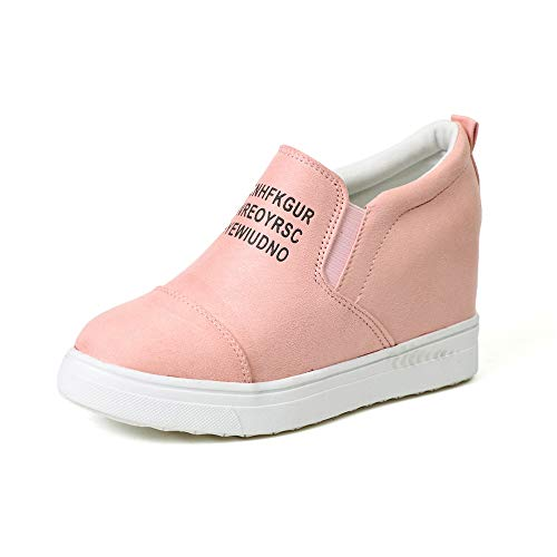 Miuko Plateau Sneaker Damen Leder Keilabsatz Hohe 7 cm Absatz Slip On Wildleder Loafers Wedges Ankle Boots Casual Bequeme Rosa 38