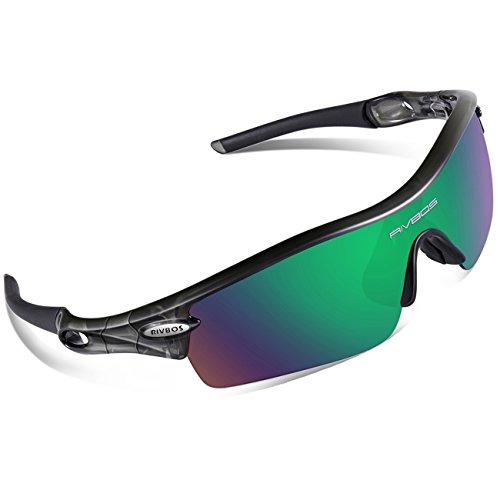 RIVBOS UV400 Polarisiert Sportbrille Outdoor Fahrrad Laufen Angeln Baseball Golf Radfahren Sonnenbrille für Herren und Damen RBS905 TR Transparent Grau Angels Baseball-team