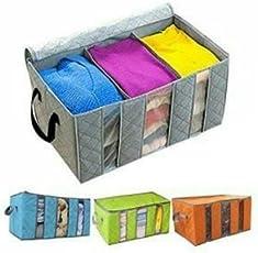 Pramukh Enterprice Foldable Bamboo Bag Home Closet Storage Bag Organizer Box Anti-Bacterial Clothes Finishing Bag