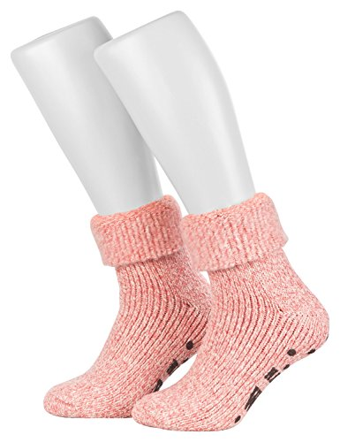 Piarini ABS Stoppersocken / Wollsocken / Wintersocken / Norwegersocken mit Innenfrottee für Damen, Herren, Jungen und Mädchen   1 Paar rosa-meliert 39-42