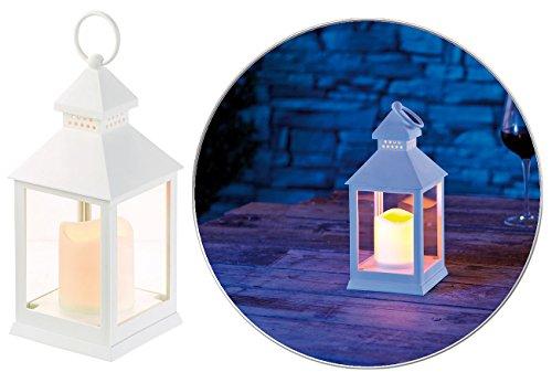 Lunartec LED Grablicht mit Timer: Laterne mit flackernder LED-Kerze und Timer, Batteriebetrieb, weiß (LED Grabkerze mit...