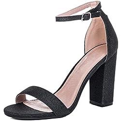 Peep-Toe Blockabsatz Sandalen Schuhe Pumps Synthetik Gr 38