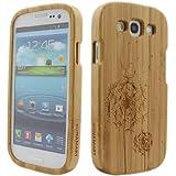 BONAMART ® Bambus Holz Hülle Holzhülle Case für Samsung Galaxy S 3 III S3 SIII I9300 Tasche Cover Schutz Wood Bamboo Löwenzahn
