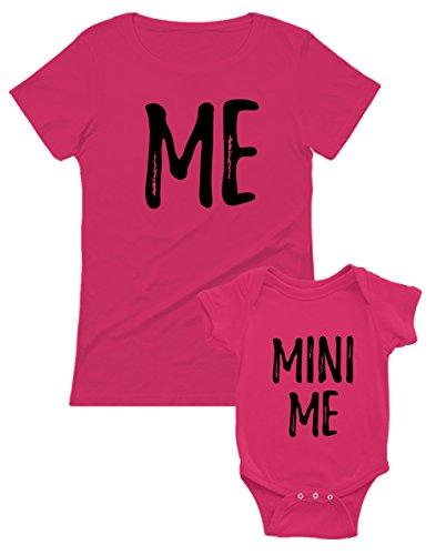 Set Mère et bébé t-Shirt et Body - Me & Minni me Cadeau pour Maman BB Fuchsia 3-6 Mois/Mam Fuchsia X-Large
