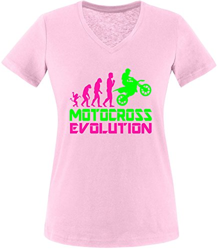 EZYshirt® Motorcross Evolution Damen V-Neck T-Shirt Rosa/Pink/Neongr