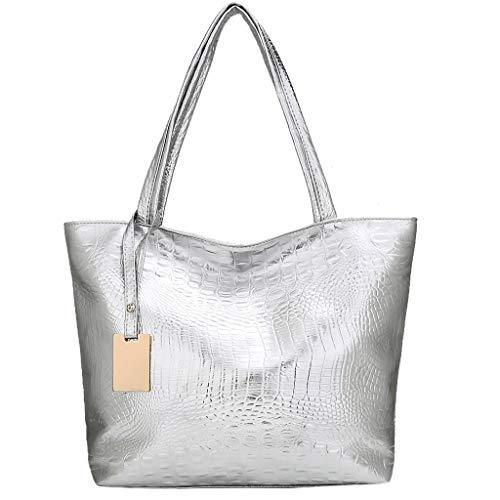 Zzxian borsa a spalla grande capienza morbida pelle borse donna borsa tracolla borse tote borsetta eleganti borsellino per regalo viaggio lavoro mare (argento)