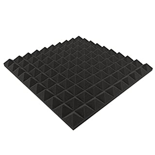 Akustikpur - ca. 48,5 cm x 48,5 cm x 6 cm - Pyramiden Akustikschaumstoff,(Anthrazit/Schwarz) Akustik Schaumstoff,Akustik Dämmung