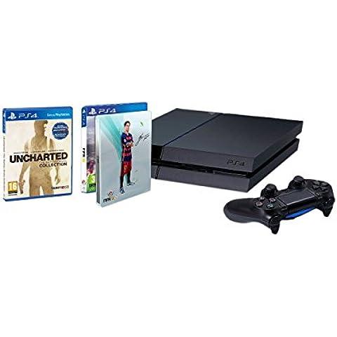 PlayStation 4 - Consola 1TB [CUH-1216B] + FIFA 16 con Steelbook (solo en Amazon) + Uncharted: The Nathan Drake