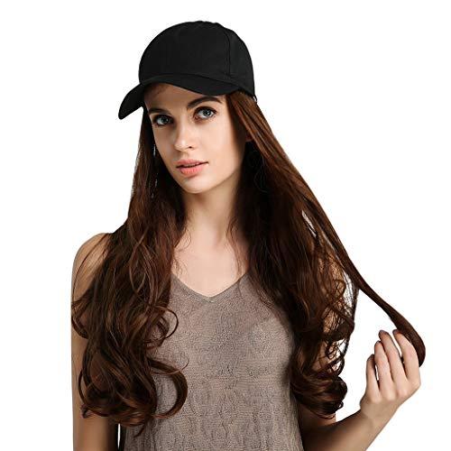 Sisit Heißer Seide Lange lockige perücke Cap Lange Haare Baseball Cap Ball caps Casual Hut mit perücke für Party Cosplay und kostüm 26 Zoll
