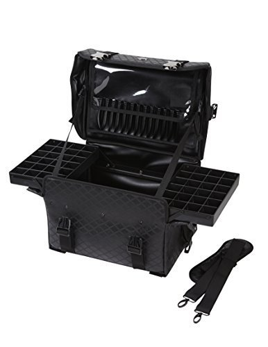 Seya Beauty Soft Sided Pro Makeup Artist Nail Art Organizer Train Case Carry-on w/ Removable Dividers & Travel Brush Holder (Black Quilted) by Seya Beauty