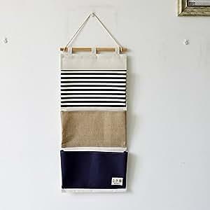yiuswoy grosse kapazitaet streifen spleissen 3 taschen wandorganizer haengeorganizer tuer. Black Bedroom Furniture Sets. Home Design Ideas