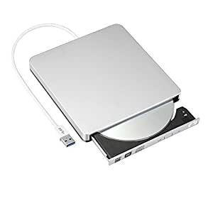 Patuoxun CD/DVD-RW Burner Writer external hard drive for Apple Macbook, Macbook Pro, Macbook Air or other Laptop/Desktops with USB3.0 Cable - Argento