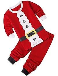 Mxssi Conjunto de Pijamas Familiares de Navidad Estampado de Santa Claus Niñas Niños Sleepsuit Trajes Bebé