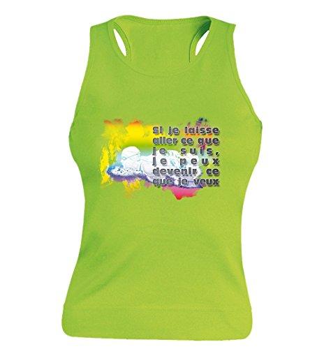 """T-shirt Femme 100% Coton - """"Natation"""" - Sans Manches Vert"""