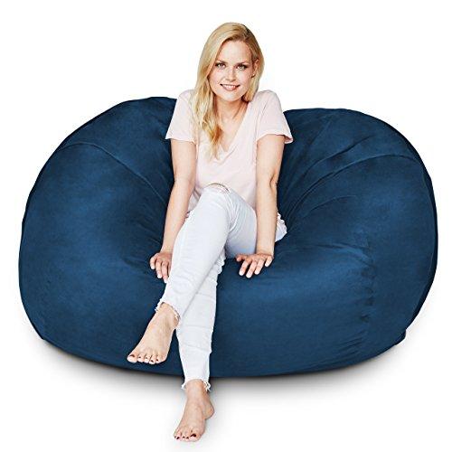 Lumaland Premium Riesen-Sitzsack 5 Foot L 125 x 150 cm Bean Bag 810L Füllung 100% Polyester Bezug in Wildleder-Optik Sitzkissen für Kinder Jugendliche und Erwachsenein Dunkelblau
